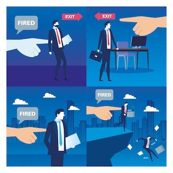 Бизнесмены уволены, уволены, безработица, безработица и концепция сокращения рабочих мест работника, установить сцены