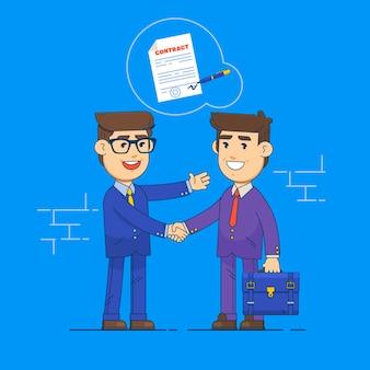 Предприниматели пожимают друг другу руки и подписывают контракт