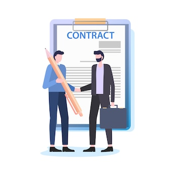 Businessmen shake hands man with pen sign contract