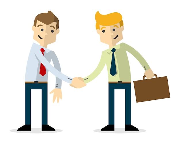 Бизнесмены, пожимая друг другу руки