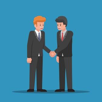 Бизнесмены вместе пожимают друг другу руки. деловое партнерство и концепция совместной работы.