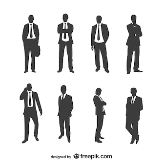 Businessmen silhouettes collection Premium Vector