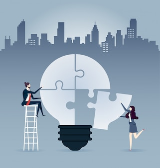 Businessmen sitting on ladder, completing an idea light bulb puzzle - illustration