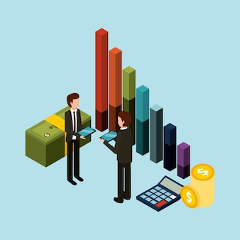 Businessmen standing holding tablet graph bar money and calculator