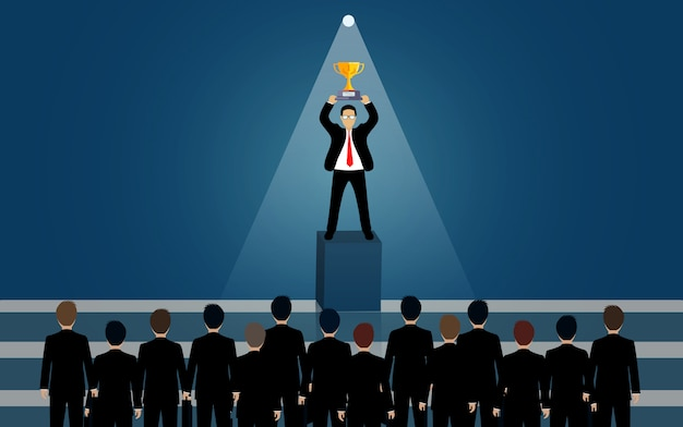 Businessmen standing holding trophies in the light. flashlight shining down. recruiting personnel idea with excellent skill and talent. business success. creative. leadership. vector illustration.