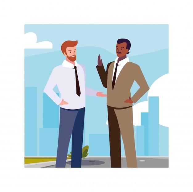 Businessmen standing in urban street, business professional men
