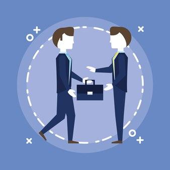 Businessmen talking over blue background, colorful design. vector illustration