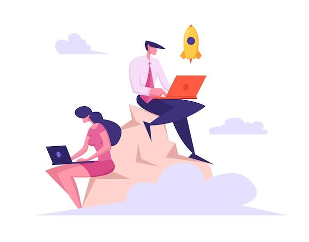 산 그림 위에 작업하는 노트북과 기업인 팀