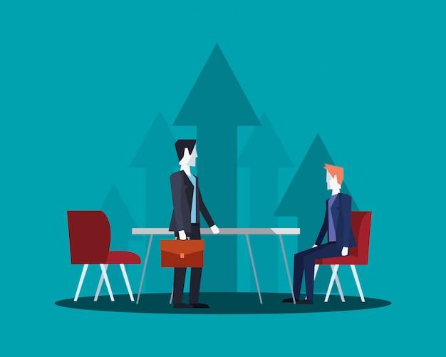 ビジネスマンチーム作業オフィステーブル