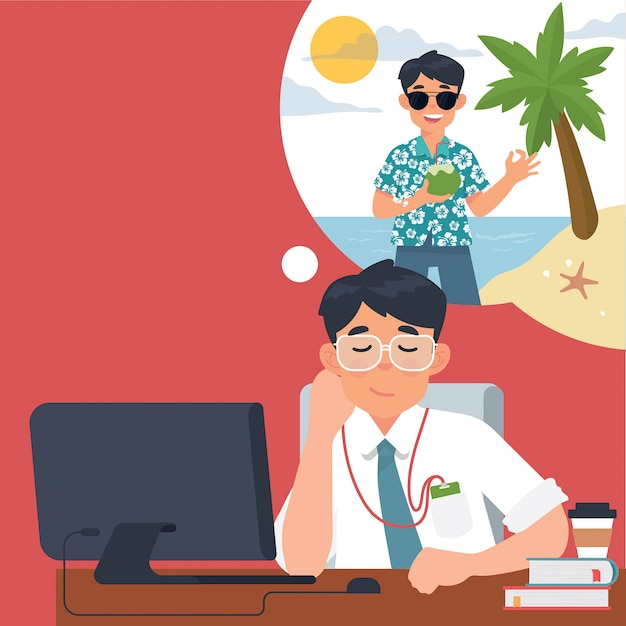 Businessmen think about vacationing when in the office