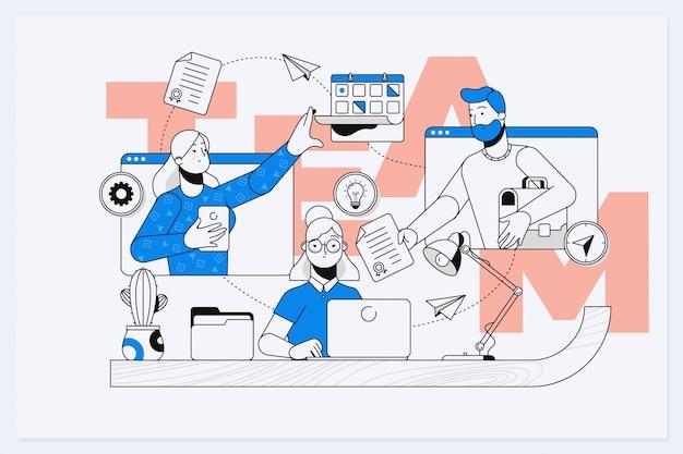 Businessmen together build word teamwork