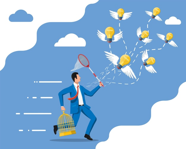 Businessmen trying to catch idea light bulbs with wings and to put them in cage. creative idea or inspiration, business start up. glass bulb with spiral and wings in flat style. vector illustration