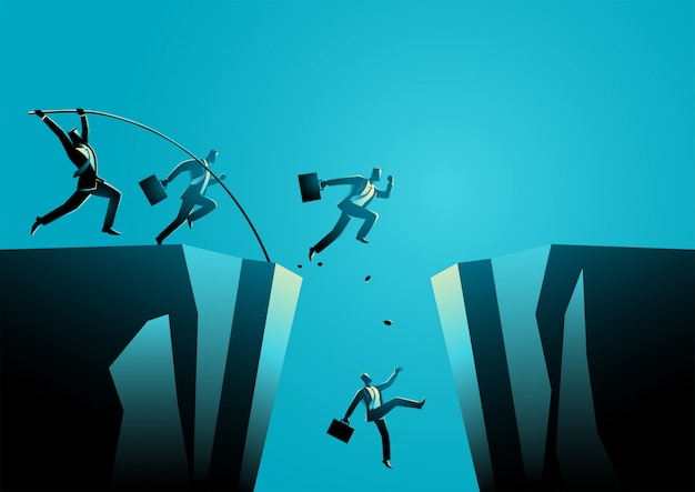 Businessmen trying to jump over the ravine
