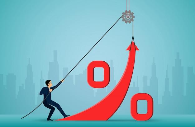 ビジネスマンはロープを使って赤い矢印を引いて方向を変える