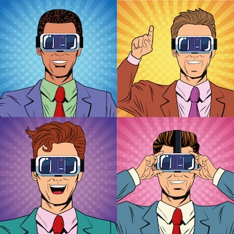 Businessmen virtual reality pop art cartoon