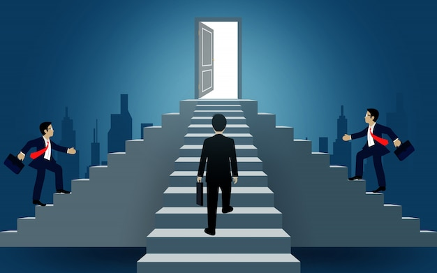 Businessmen walk up the stair to the door. destination, victory  to success concept with idea. leadership concept. ladder to success business. cartoon vector illustration