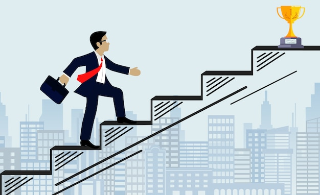 Businessmen walk up the stairs to the goal illustration Premium Vector