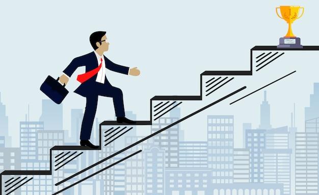 ビジネスマンが目標図に階段を上る