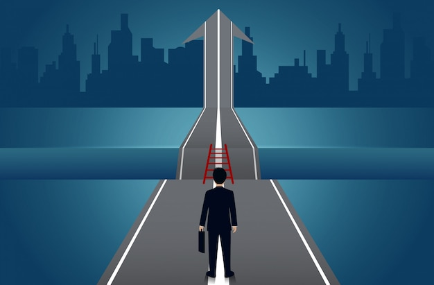 Businessmen walking go on the road there is a gap between the path with arrows to goal success