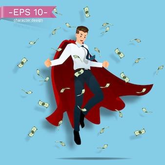 Предприниматели носят красный плащ, летящий в воздухе