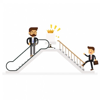 Businessmen who use escalator to success