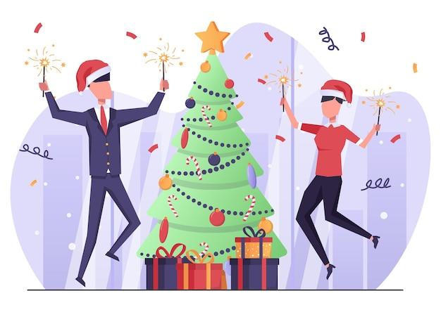 クリスマスと新年を祝うオフィスでベンガルの火を持つビジネスマン