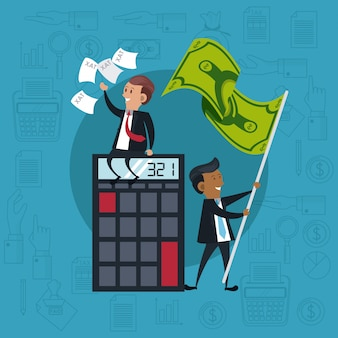 Businessmen with calculator and money flag