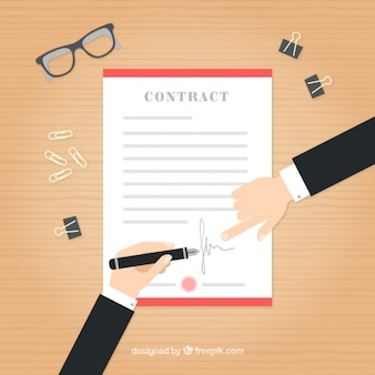 Businessmen with a contract in flat design