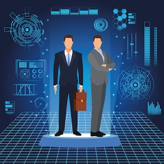 Businessmen with digital landscape