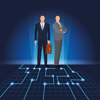 Businessmen with digital landscape