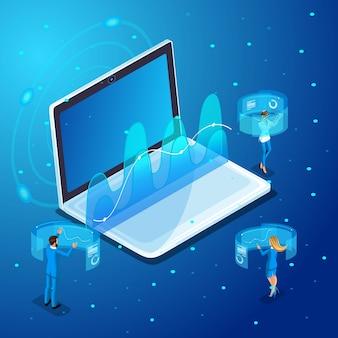 ガジェットを使用するビジネスマン、仮想画面、オンライン管理、グラフィックス、レポートで作業します。イラストのキャラクター感情