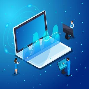 ガジェットを持ったビジネスマン、仮想画面での作業、電子機器のオンライン管理、ハイテク。イラストのキャラクター感情