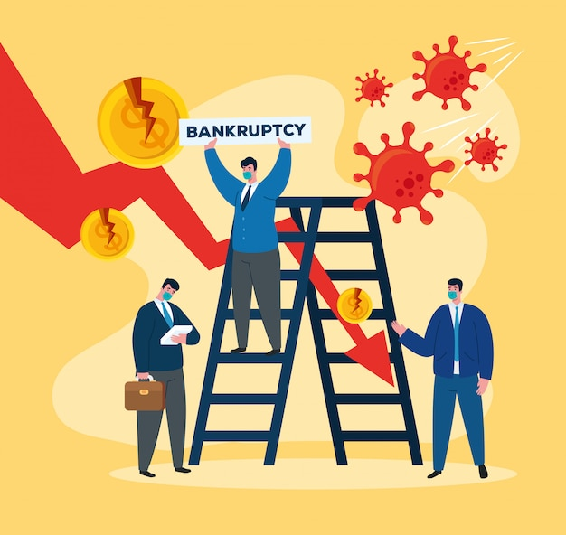 Businessmen with masks and ladder of bankruptcy
