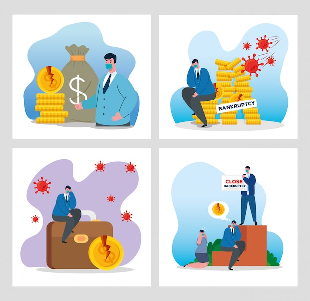 Businessmen with masks and money icon set of bankruptcy