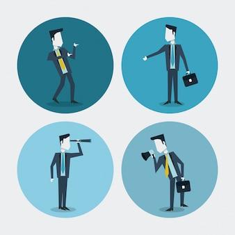 単眼メガホンとエグゼクティブブリーフケースを持つビジネスマン