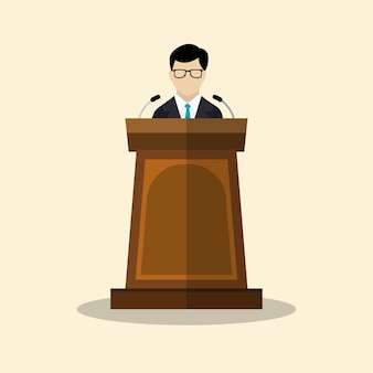 Businessmen with podium flat graphic design