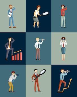 スパイグラスと双眼鏡を持っているビジネスマンは、距離が設定されているように見えます。ガラスを拡大する望遠鏡を備えたスーツのキャラクターは、経済を分析する経済的観点を調べます。ベクトル漫画経済。