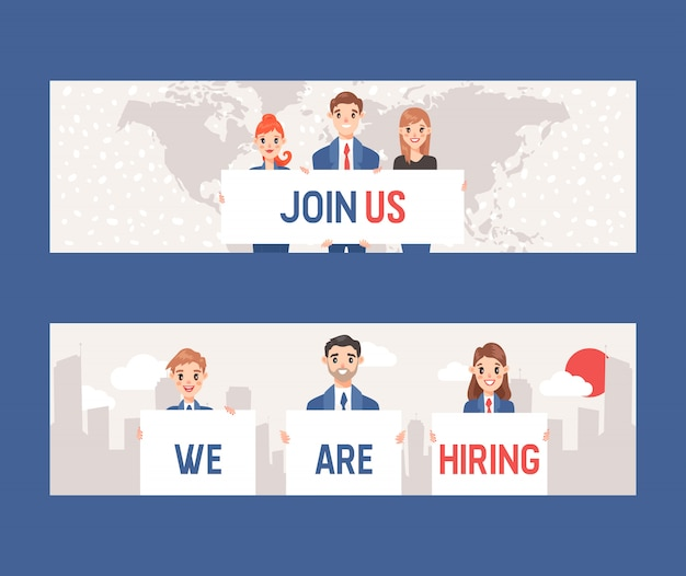 Businessmen and women holding sign with text join us and we are hiring set of banners. job applicant business concept, employee, corporate, recruiter
