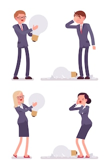 Businessmen and women with light bulbs, one is broken