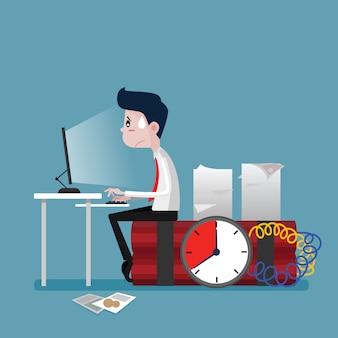 Businessmen to work on time bomb deadline, business concept, vector cartoon