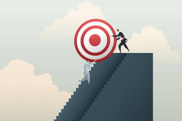 Businessmen work together team up to achieve their business goals