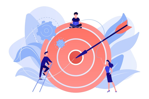 일하는 실업가 그리고 화살표와 함께 큰 목표에 여자. 목표와 목표, 비즈니스 성장 및 계획, 흰색 배경에 목표 설정 개념.