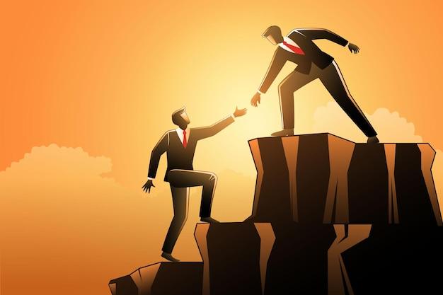 Бизнесмены работают вместе, помогая друг другу подняться на горную скалу успеха