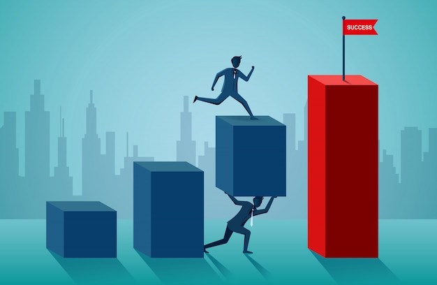 Businessmen working together to push the organization to the goal of success Premium Vector
