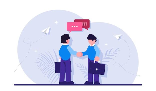 Бизнесмены пожимают друг другу руки и разговаривают. деловое соглашение, сделка, сотрудничество для развития, роста и прогресса начинающей компании.
