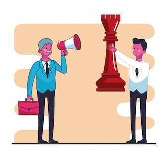 Businessmens with chess piece and bullhorn vector illustration graphic design