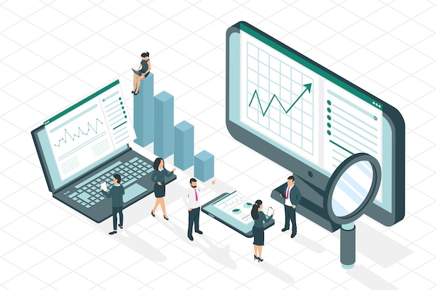 Businesspeople and analytics icons