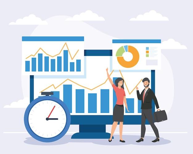 Бизнесмены и компьютер с инфографикой