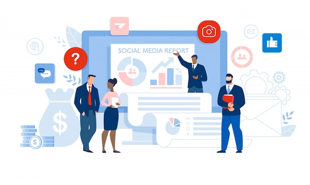 ビジネスマンとソーシャルメディアレポートのプレゼンテーション