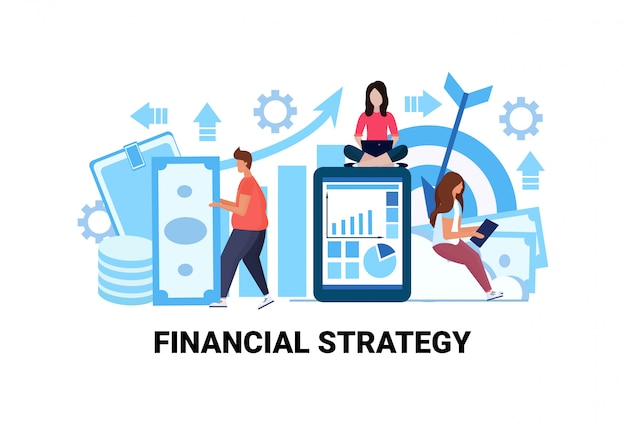 Businesspeople brainstorming successful financial strategy concept